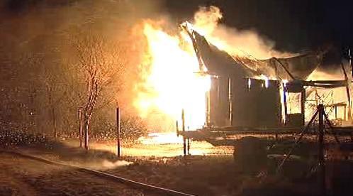 Požár ubytovny v Tečovicích