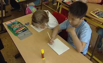 Mongolské děti ve škole