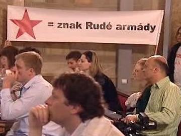 Rudá hvězda na transparentu