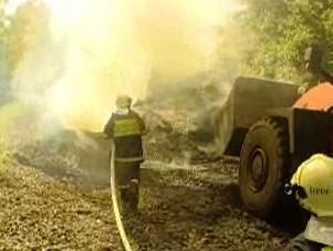 Hořící halda na Ostravsku