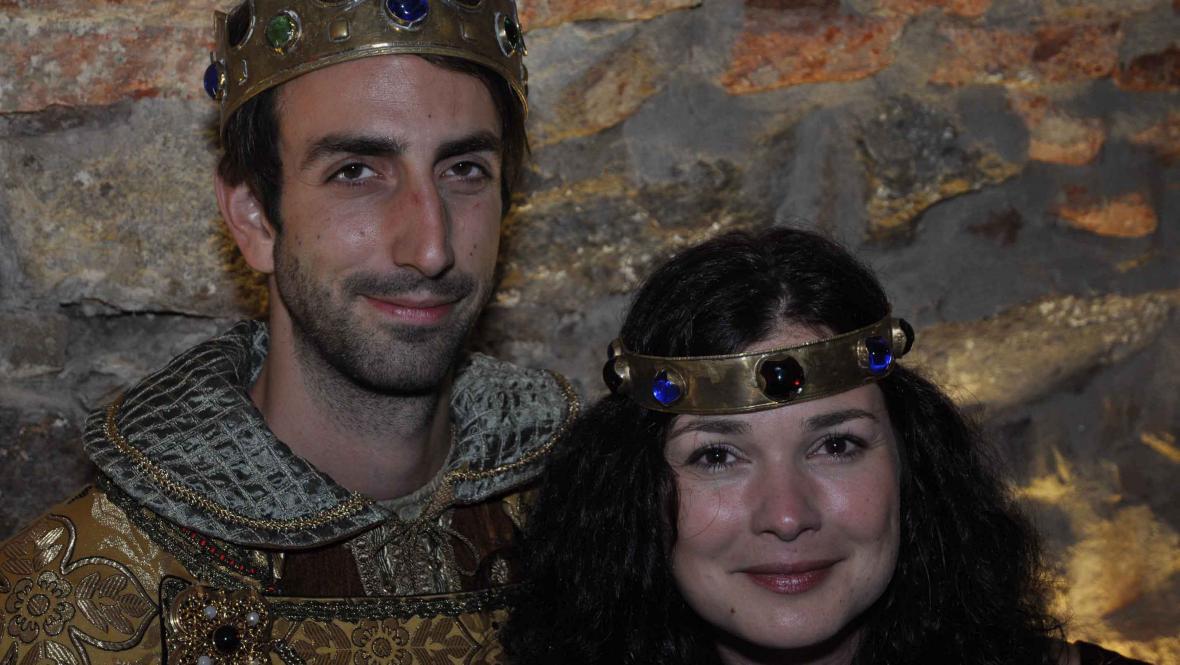 Představitel krále Jana Lucemburského herec Petr Vaněk a královna Eliška alias Martina herečka a znojemská rodačka Marti