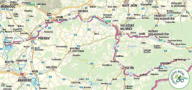 Mapa cyklostezky Bečva