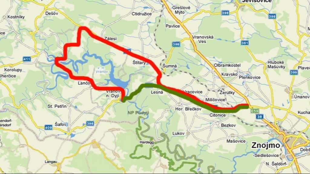 Původní a objízdná trasa do Vranova nad Dyjí
