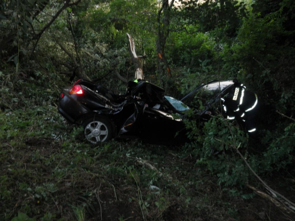 Po střetu se srnou zahynul v převráceném voze mladý muž