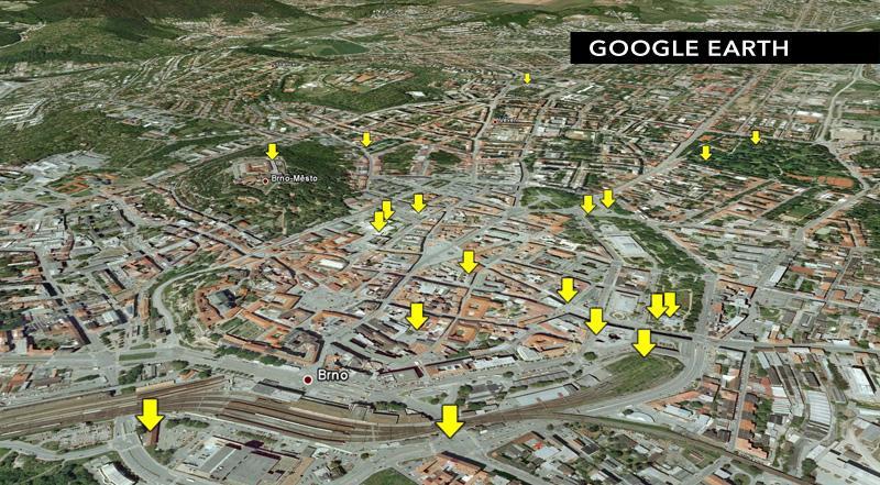 Mapa 15 děl letošní přehlídky Sochy v ulicích