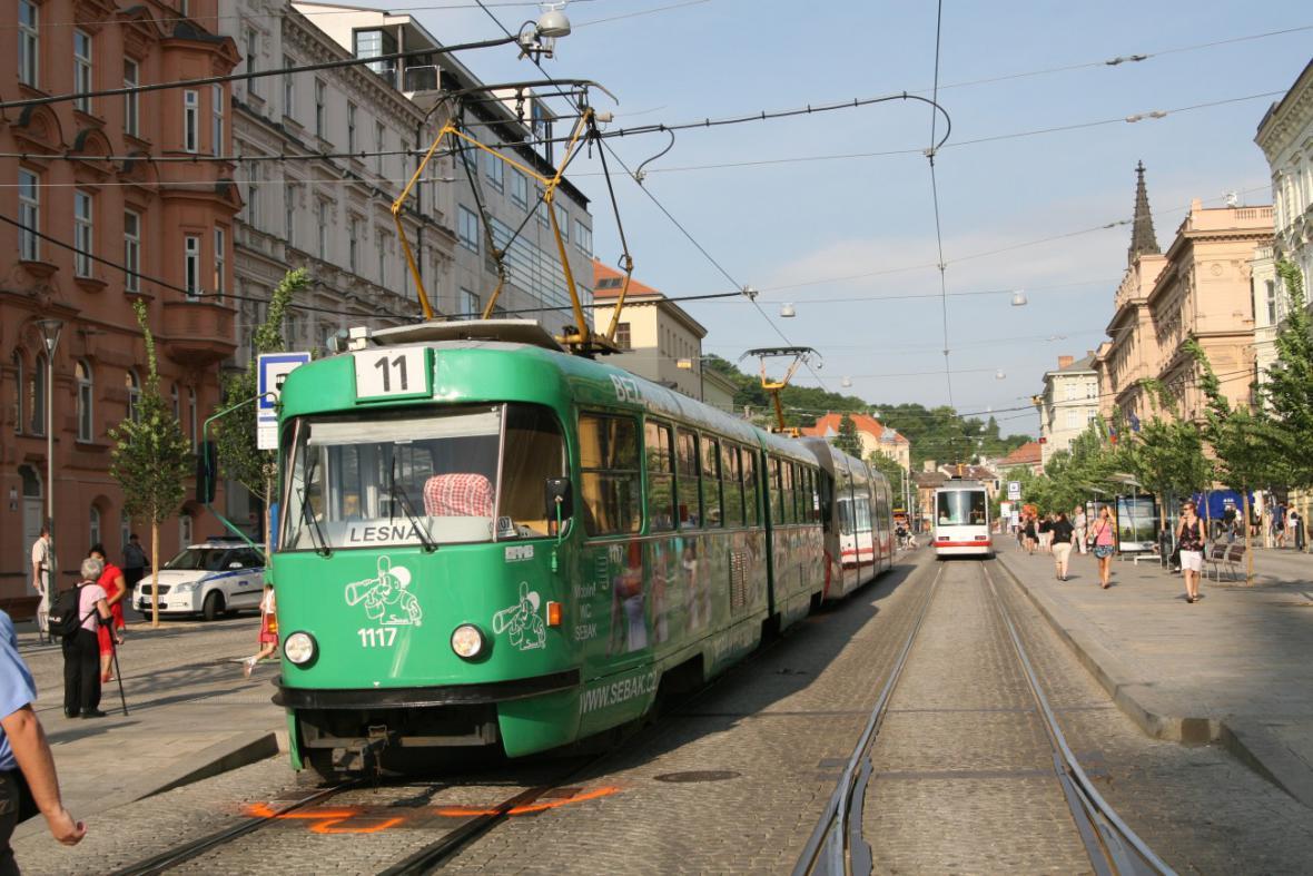 Srážka tramvají v centru Brna