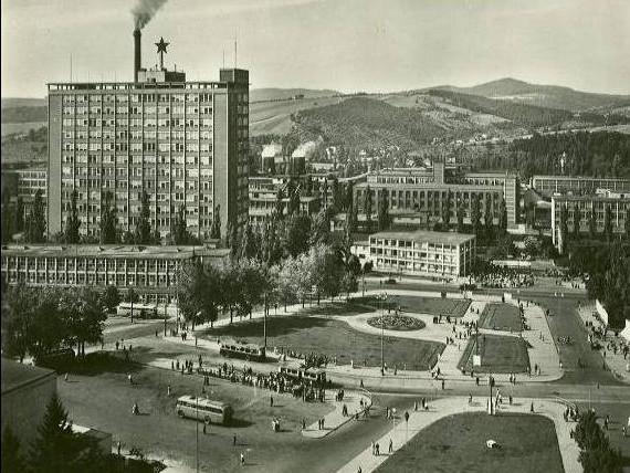 Historický snímek náměstí práce ve Zlíně z roku 1927