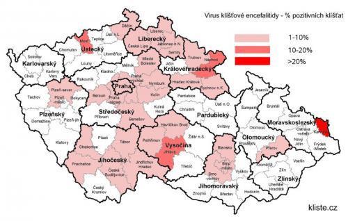 Výskyt klíšťat infikovaných encefalitidou v letech 2006 až 2010