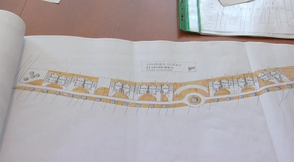 Plán nové uličky ve Velkých Pavlovicích