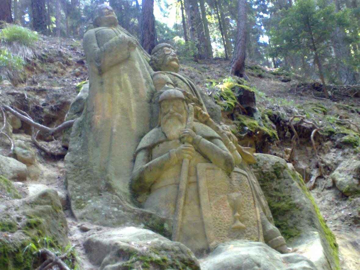 Husitští bojovníci v lese u Bořitova na Blanensku