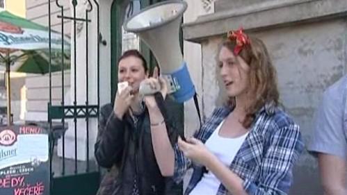 Happening hodonínských studentů a opozice