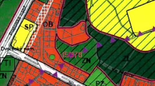 Červená znamená stavební pozemek