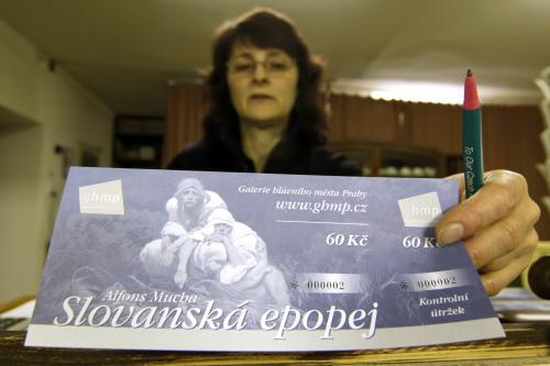 Vstupenka na expozici Slovanské epopeje v M. Krumlově