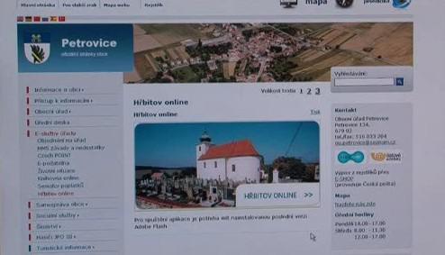 Digitální mapa hřbitova je dostupná on-line