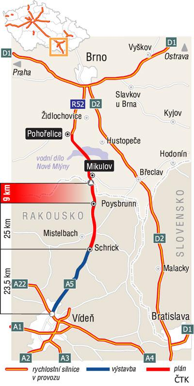 Plánované dálniční spojení Brno - Vídeň