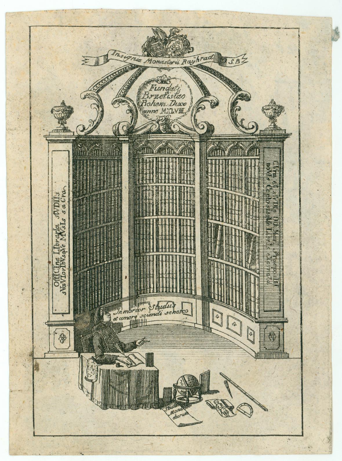 Exlibris pro knihovnu benediktinského kláštera v Rajhradě