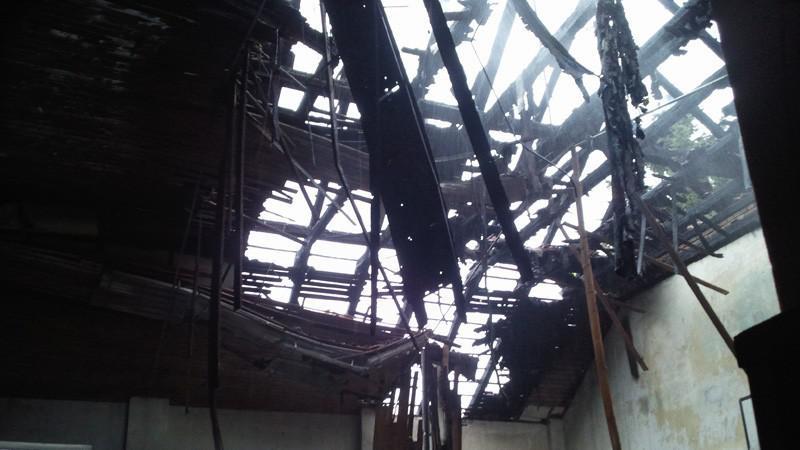 Požár sokolovny v Brně - Starém Lískovci
