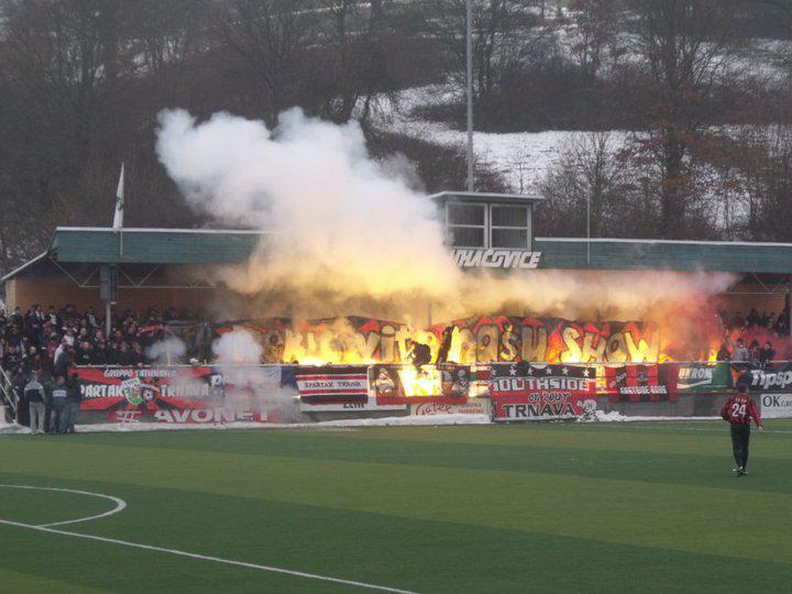 Fotbalový zápas v Luhačovicích mezi Zlínem a Trnavou