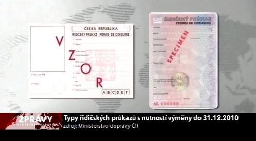 Typy řidičáků k výměně do 31. 12. 2010