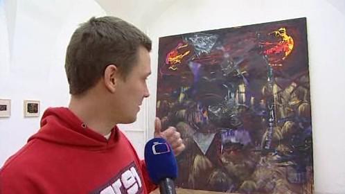 Jeden ze svých obrazů Jan Pražan dokončil až při instalaci výstavy