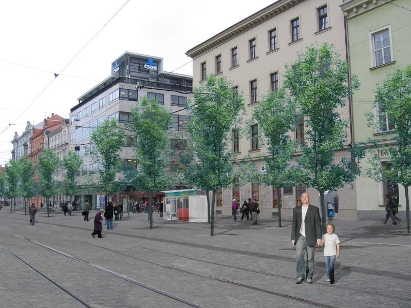Počítačová vizualizace Joštovy ulice po dokončení oprav
