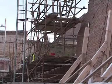 Opravy zřícených zdí hradu Špilberk