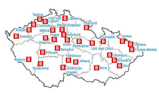 Rozmístění babyboxů po České republice