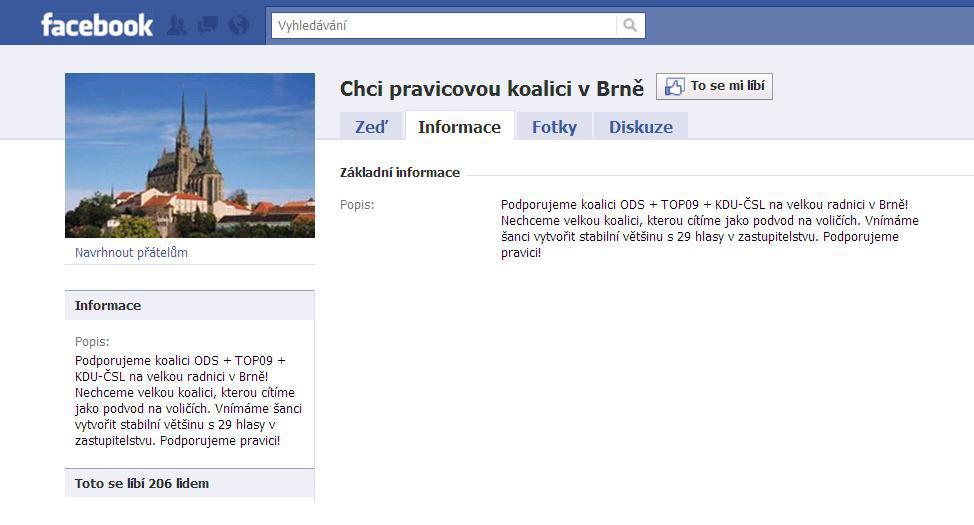Facebooková skupina Chci pravicovou koalici v Brně