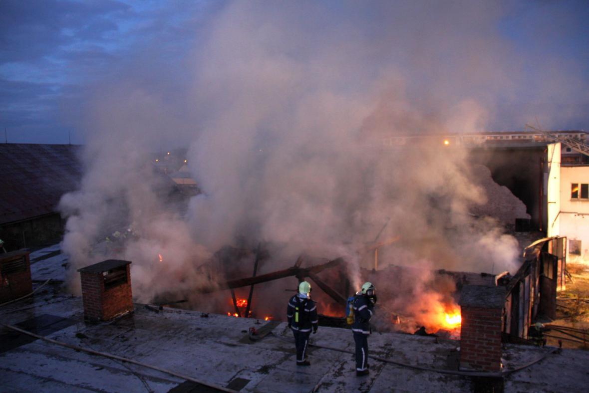 Požár v bývalém pivovaru