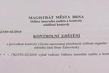 Výsledky kontroly prověřující činnost MČ Brno-Žabovřesky