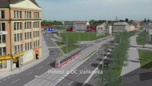 Vizualizace nové tramvajové trasy v ulici Plotní