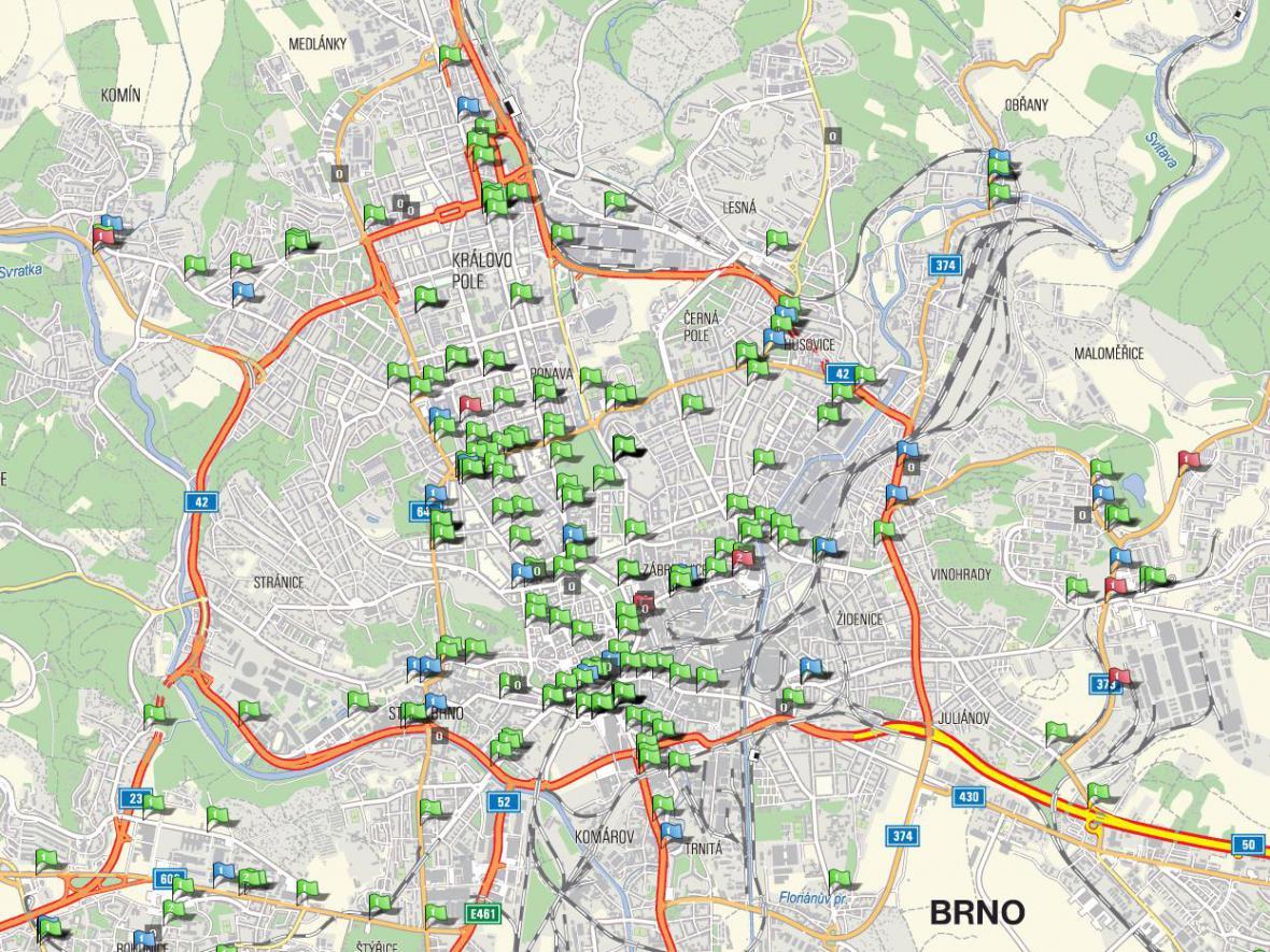 Mapa nebezpečných brněnských přechodů
