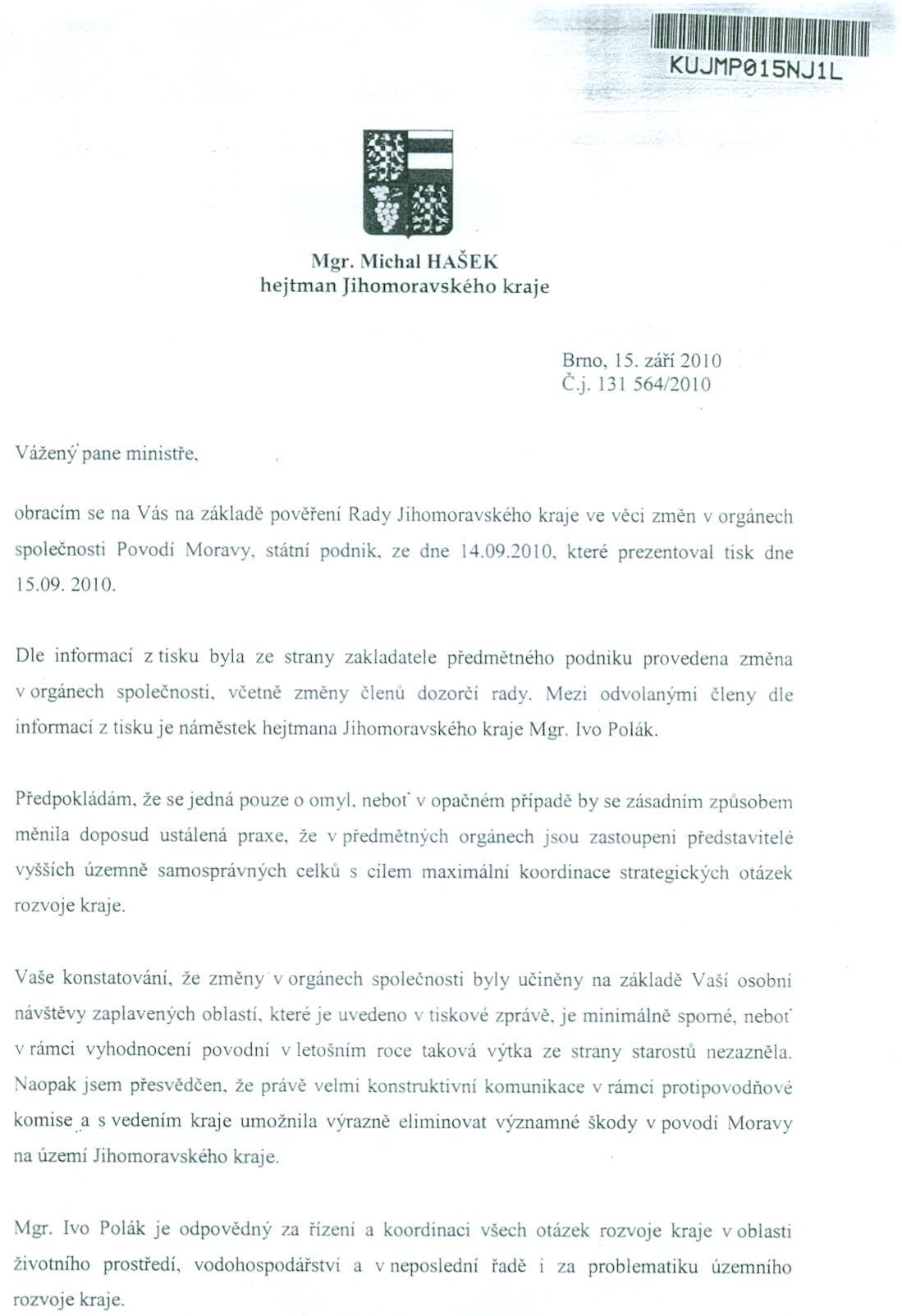 Dopis hejtmana ministru zemědělství
