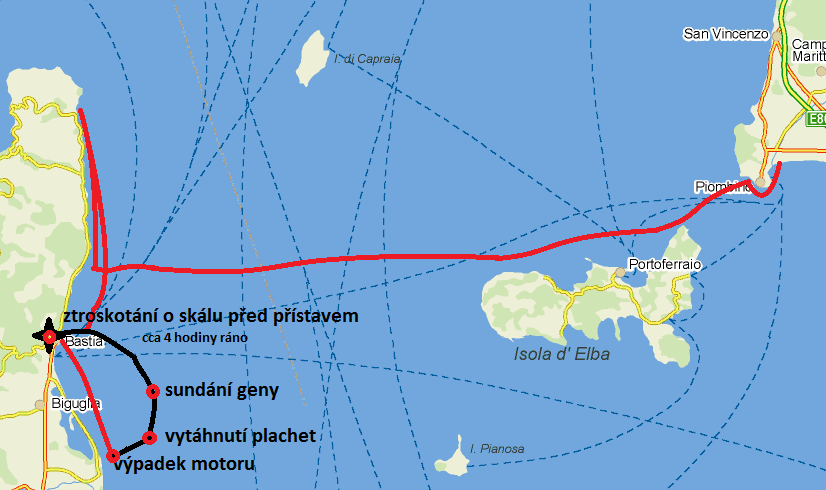 Mapa ztroskotání