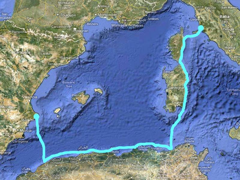 Trasa, po které chce Albert Fikáček plout z Itálie do Španělska