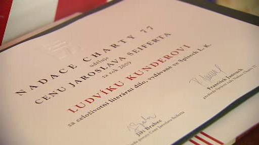 Ocenění Nadace Charty 77 pro Ludvíka Kunderu