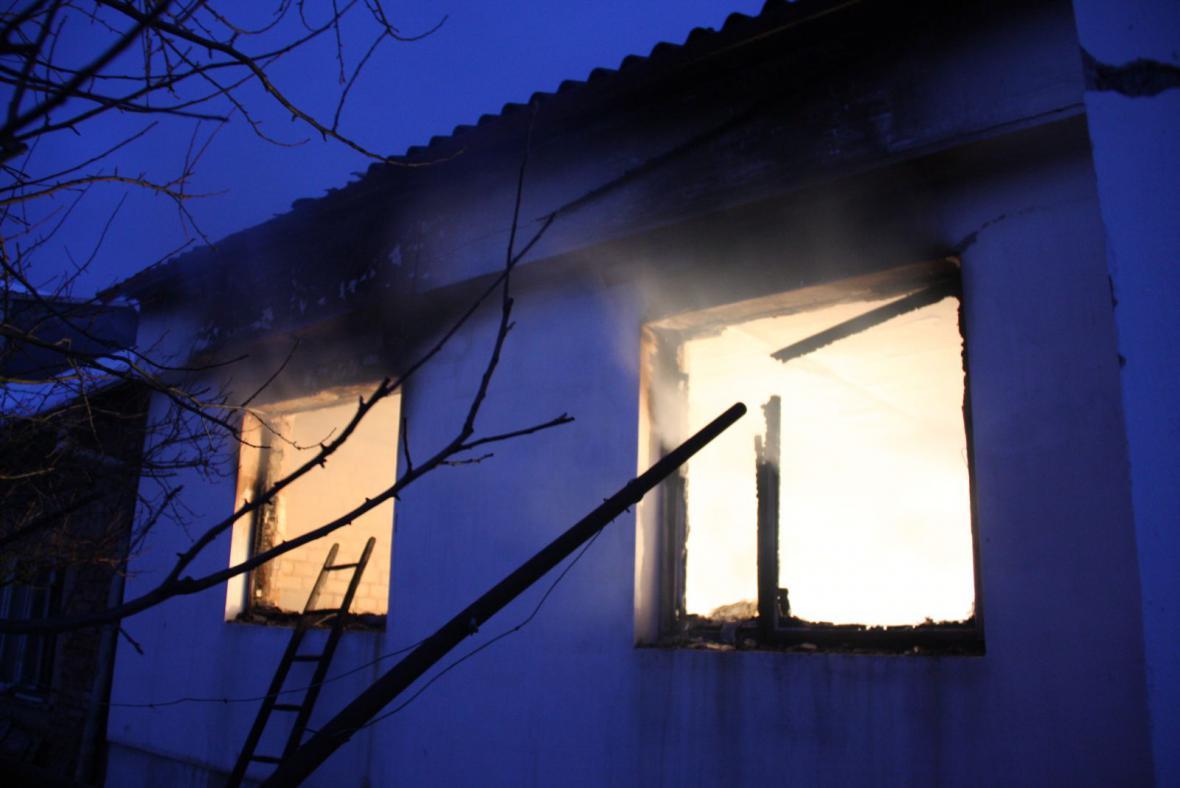 Požár domku v Uherském Ostrohu