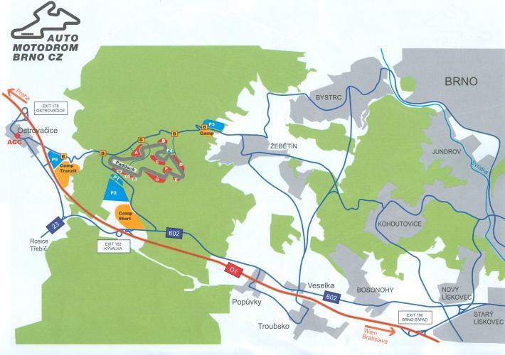 Plánek kempů u brněnského Automotodromu