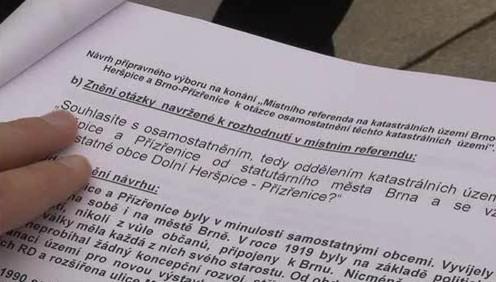 petice za osamostatnění Přízřenic a Dolních Heršpic