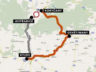 Objízdná trasa z Koryčan do Kyjova