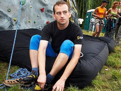 Zrakově postižený horolezec Jan Říha