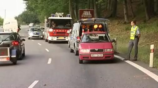Místo nehody motocyklu v buchlovických horách u Uherského Hradiště