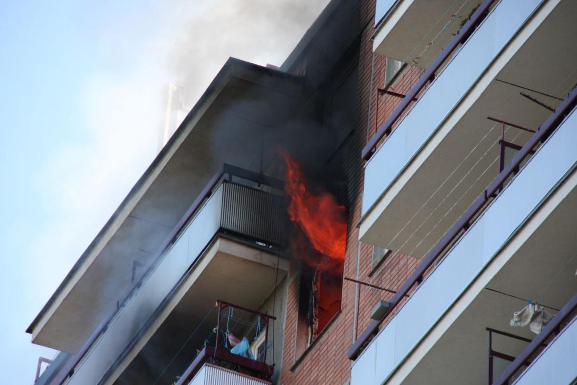 Požár bytového domu ve Zlíně