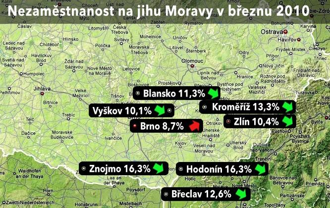 Mapa nezaměstnanosti na jihu Moravy v únoru 2010