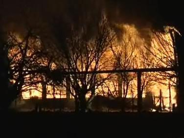 Požár v Tečovicích na Zlínsku