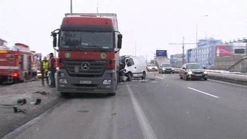 Havárie dodávky v Brně