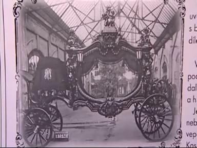 Historický pohřební kočár na dobové fotografii