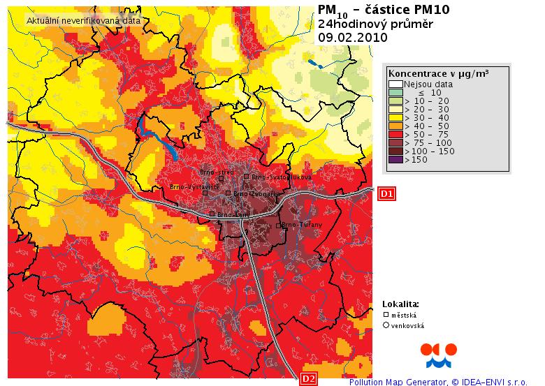 Mapa znečištění - Brno