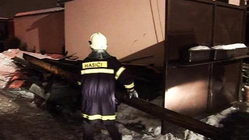 Požár rodinného domku v Lužicích u Hodonína