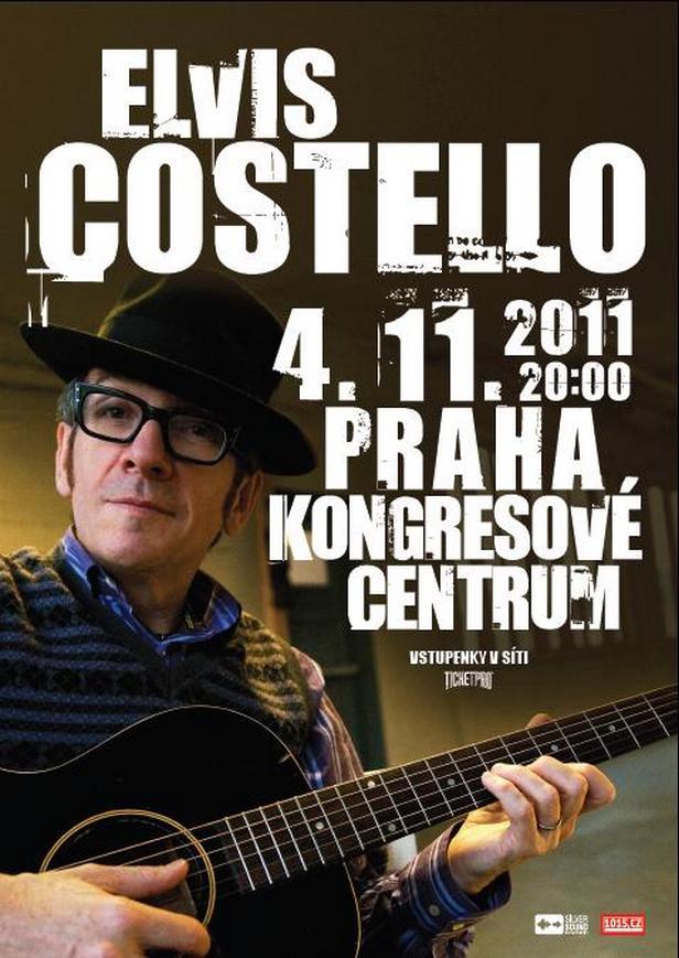 Plakát ke koncertu E. Costella v Praze